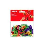 APL B.MINI PINZAS MADERA  COLOR 25X3MM 45U
