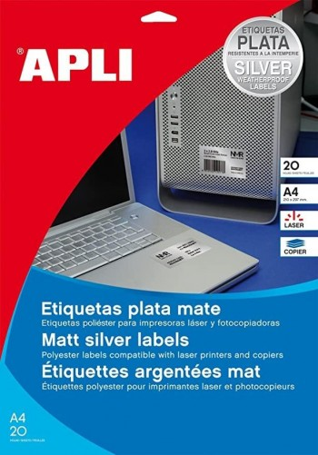 ETIQUETAS APLI POLIESTER 210X297 PLATA 10071